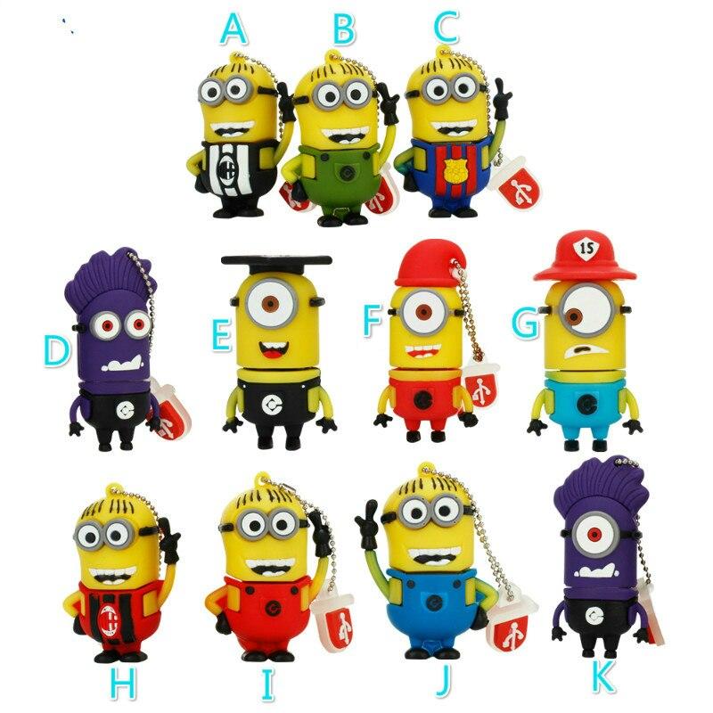 Cute Minions Usb Flash Drive 4gb 8gb 16gb Pen Drive 32gb 64gb Funny Cartoon Memory Stick 128gb Pendrive High Speed Thumbdrives