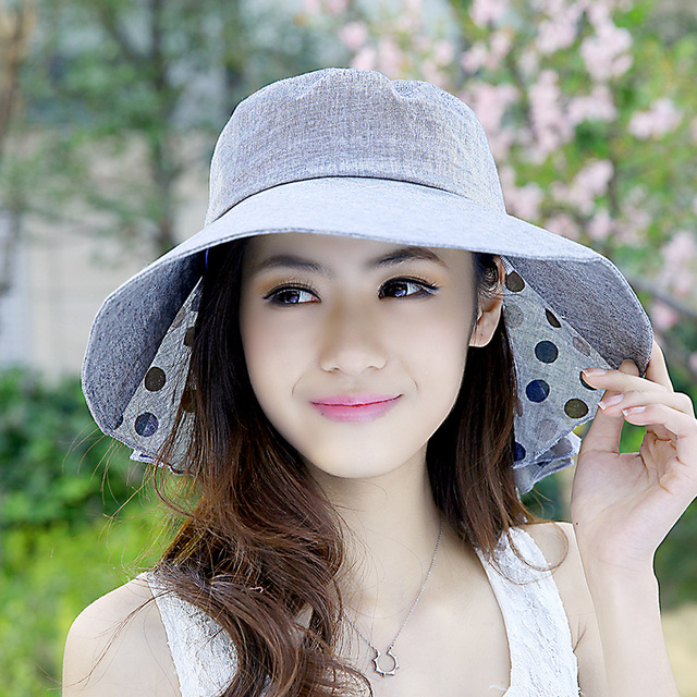 Women s Wide Brim Beach Sun Hat Summer UV protection hat women with big  heads fashion lady s sun hat Foldable Cap 3795b934cbb
