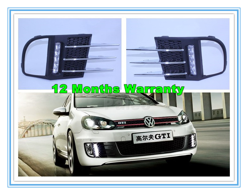 ФОТО 2pcs For VW Golf 6 MK6 GTI 2009 2010 2011 2012 2013 Pair Of 5 LED DRL Daytime Running Lights With Wire Of Harness