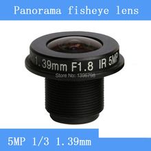 CCTV lenses 5MP 1/3 HD 1.39mm fisheye panoramic surveillance camera 185 degrees wide-angle infrared lens