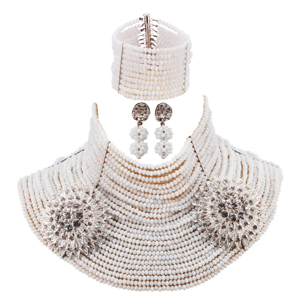 White Crystal 25 Layers Multi-layer Necklace Bracelet Earrings Sets Nigerian Wedding African Beads Bridal Jewelry Sets 25R01