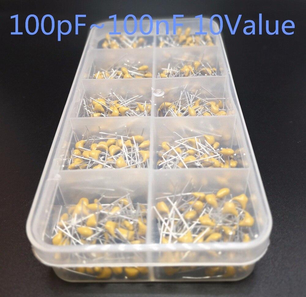 10Value*30pcs 10pf~10nF 50V 10pF 20pF 30pF 47pF 56pF 68pF 100pF 1nF 10nF 100nF Monolithic Multilayer Ceramic Capacitor Kit Box