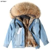 Winter Jacket Women Brand 2019 Real Fur Coat Parka Real Raccoon Collar Rex Rabbit Liner Bomber Denim Jacket Streetwear Fashion