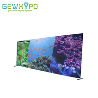 20ft*8ft Square Corners Straight Tension Fabric Media Backdrop With Full Color Printed Banner,Portable Conference Wall Display