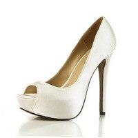 2017 Femme Chaussures Sexy Peep Toe Plate-Forme chaussures Talons hauts Pompes De Mode Satin Demoiselles D'honneur Partie De Mariage De Mariée Chaussures Top Qualité