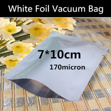 Free Shipping 200pcs 7cmx10cm (2.8'' * 3.9'') 170micron Small White Vacuum Foil Packaging Bag High Quality Open Top Foil Bag