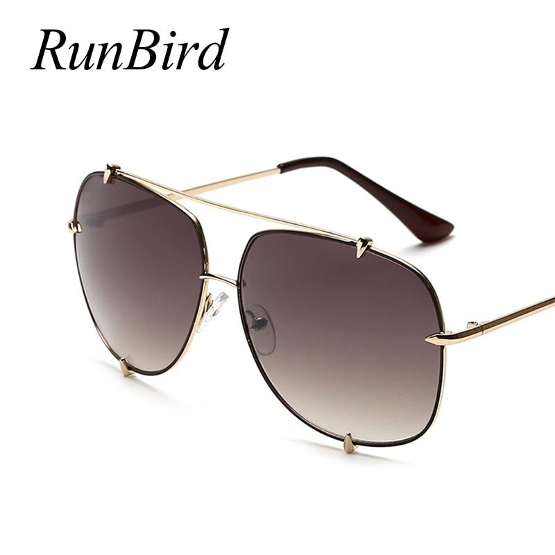 RunBird 2017 Novos Homens Moda mulheres Designer de Marca óculos de Sol do  Metal Original Senhora UV400 485R Superdimensionada Óculos de Sol quente em  ... f24045ca1b