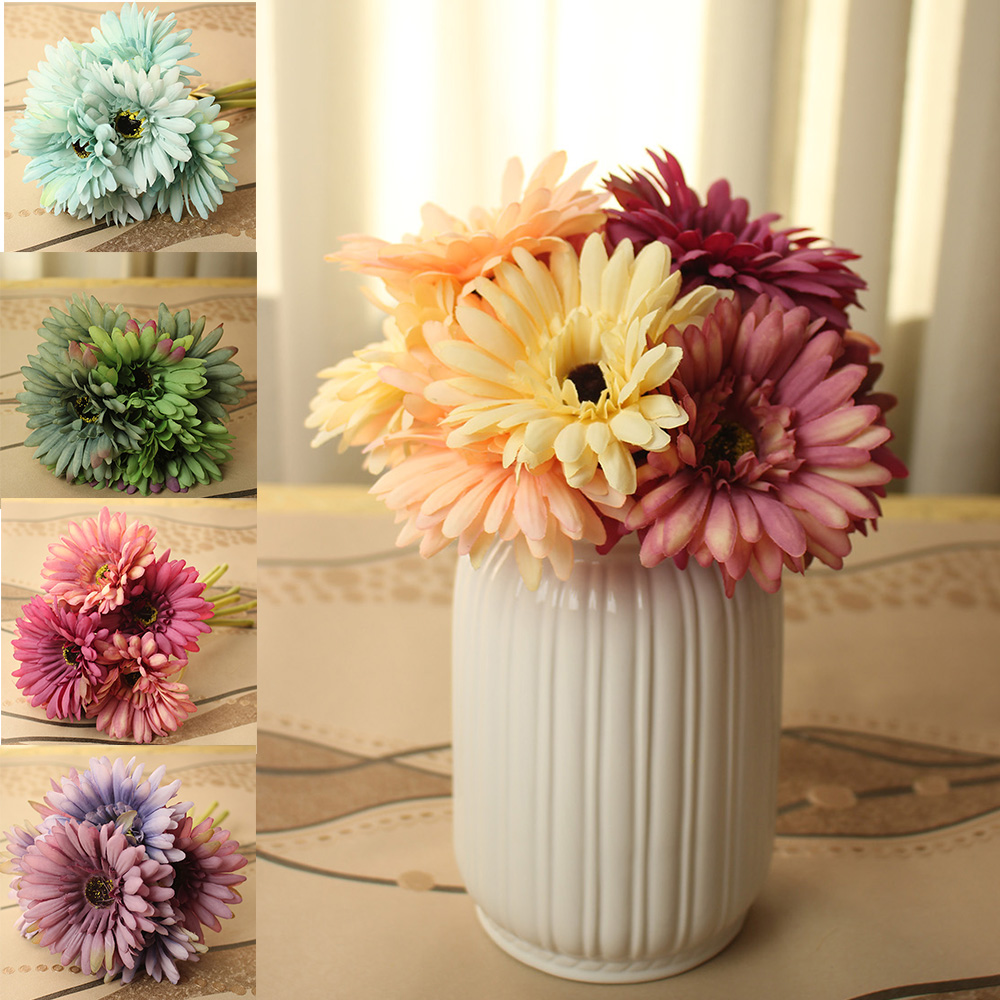 2016 New Arrival Wedding Flowers Bridal Bouquets 7 Head Gerbera Home Table  Decorations Artificial Flowers Blue Purple Green