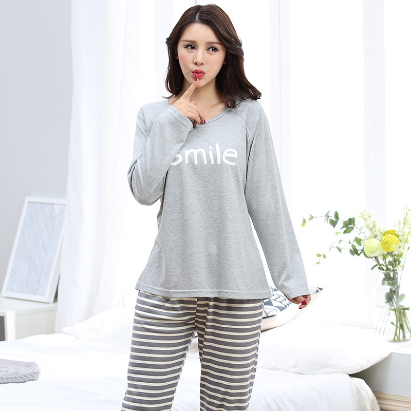 Autumn long sleeve women 39 s cotton striped pajamas sets Long cotton sleep shirts