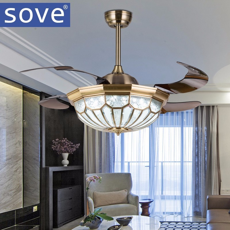 42 Inch Modern Led Crystal Ceiling Fans With Lights Living Dining Room Folding Fan Lamp