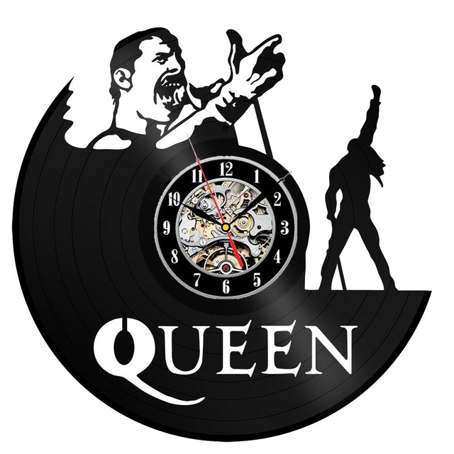 Freddie Mercury Vinyl Record Wall Clock Queen Rock Band Music Wall Art Decor Vintage Duvar Saati
