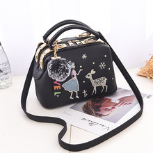 Fashion lady bag, lovely princess and deer pattern bag, eight-color optional one-shoulder bag