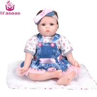 UCanaan 22 Inches Soft Reborn Dolls Babies Toys For Girls Handmade Cloth Body Silicone Reborn Baby
