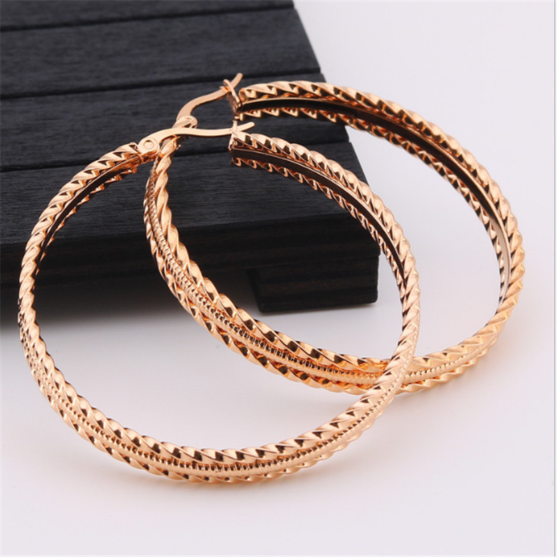 Exaggerated Rose Gold Silver Color Big Round Stud Earrings Women Men Stainless Steel Stud Earrings Fashion Jewelry wholesale in Stud Earrings from Jewelry Accessories