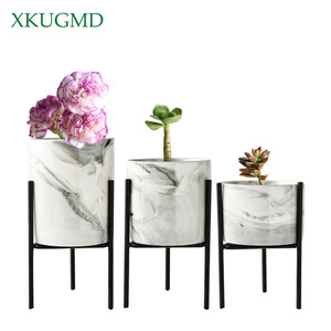Marble Iron Ceramic Flower Pots Rack Plant Stand Shelf Support for Succulent Plants Flower Vase Home Gardening Table Decoration(China)