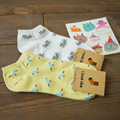 1Pair/lot Summer Style Lovely Cartoon Cat Bird Pattern Cotton Socks For Women Girls Sock Fashion Slippers Ladies Ankle Meias