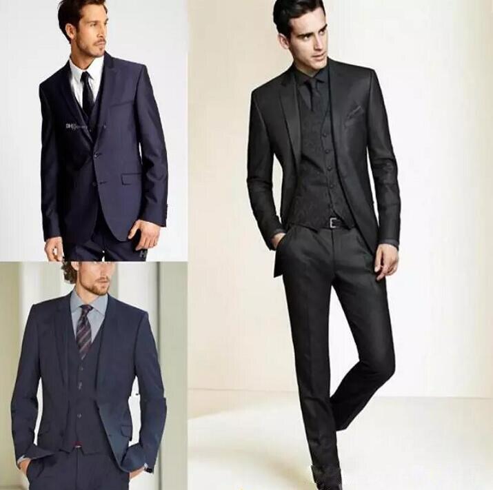 (Jacket+Pants)2019 New Formal Tuxedos Suits Men Wedding Suit Slim Fit Business Groom Set S-4 XL Dress Tuxedo For