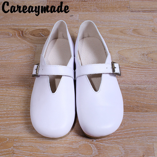 Careaymade New 2019 Genuine Leather pure handmade shoes, the retro art mori girl shoes,Women Leisure fashion white flat Shoes-in Women's Flats from Shoes    1