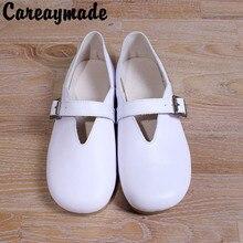 цена Free shipping,New 2016 Genuine Leather pure handmade shoes, the retro art mori girl shoes,Women Leisure fashion white flat Shoes