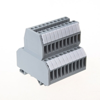 Free delivery 50 Pcs UKK3 DIN Rail Double Level Dual Row Terminal Block 500V 25A 28-12AWG Gray