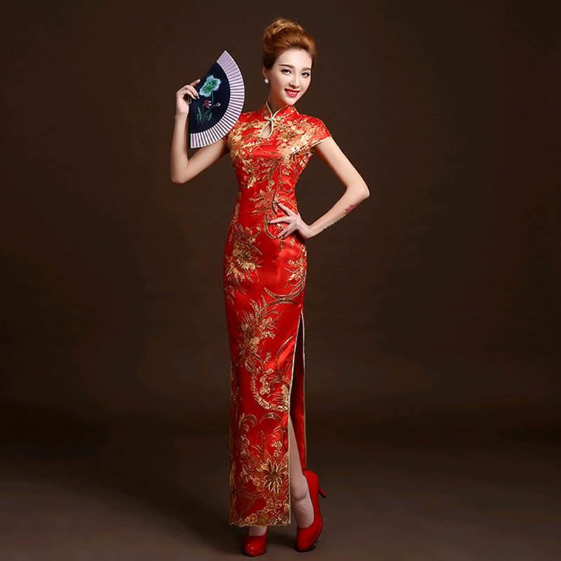 4 Color Fashion Red Lace Bride Wedding Qipao Long Cheongsam Chinese Traditional Dress Slim Retro Qi Pao Women Antique Dresses