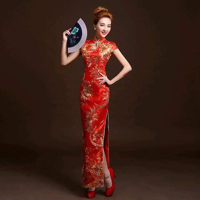 b1af9a8cac9 4 Color Fashion Red Lace Bride Wedding Qipao Long Cheongsam Chinese  Traditional Dress Slim Retro Qi