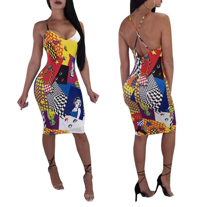 Character Printed Bodycon Dress Women Summer Bandage Dress Plunge Deep V Neck Crisscross Back Strap Sexy Mini Dress Clubwear