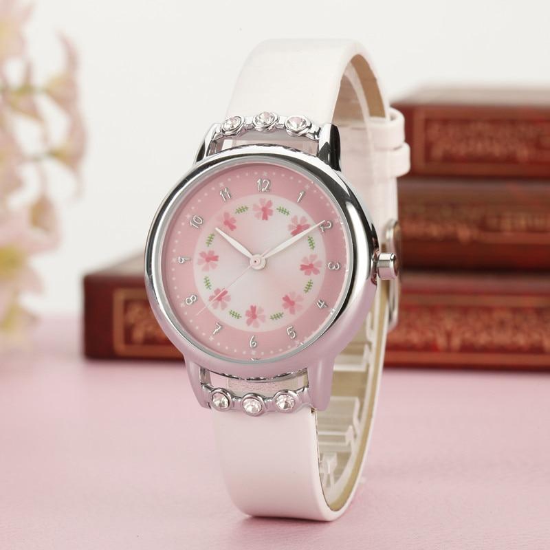 Fashion Children Kids Girls Watch Rhinestone Flower PU Leather Strap Wristwatch Student Cartoon Quartz Watches H9