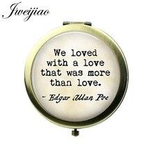 JWEIJIAO amor frase clásica cita espejo de bolsillo Vintage compacto espejo de Metal redondo flotante maquillaje espejos de aumento