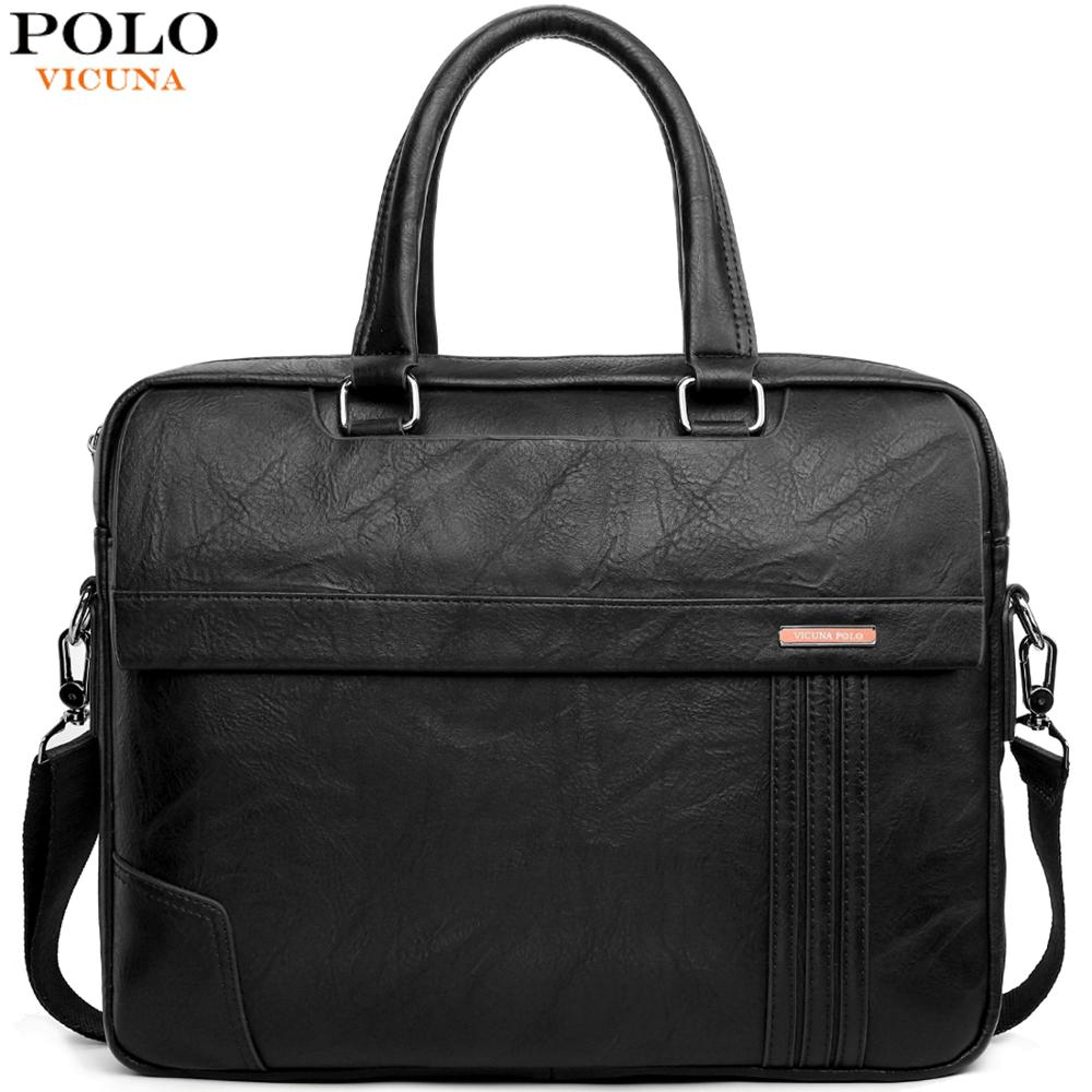VICUNA POLO Large Capacity Leather Mens Briefcase Bag Classic Business Office Bag For Men Shoulder Bag Mens Handbag New Arrival