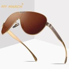 цена на MYMARCH Polarized Sunglasses Men Square Brand Design Sun Glasses Driving Mirror Coating Male Glasses Oculos Gafas De Sol UV400