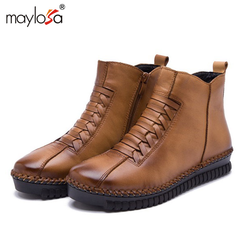 Flat Leather Boots Women Promotion-Shop for Promotional Flat ...