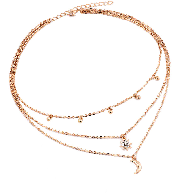 RscvonM New Boho Jewelry Multi Layer Beads Choker Necklaces for Women Sexy Moon Fashion Pendant Vintage Collier choker Necklace