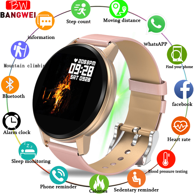 LIGE Smart Bracelet Men Women IP67 Waterproof Fitness Watch Full screen touch screen Can Control Music Playback For Android ios