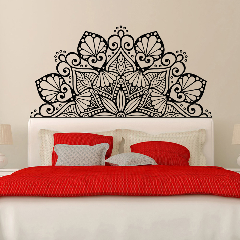 Newest Mandala Decorate The Beds Wall Vinyl Sticker Lotus Boho Poster  Bedroom Bohemia India Bohemia Yaga Wall Decor