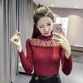 2017 Primavera Outono Mulheres Sexy costura Oco Camisola de Malha em losango de Malha camisa elasticidade Casual Bordado camisolas tamanho