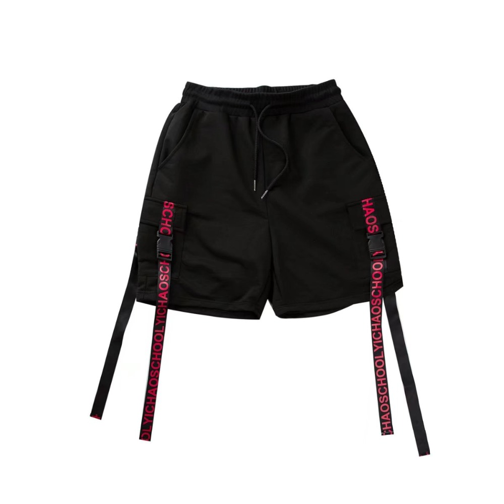 Side Ribbon Elastic Waist Drawstring Shorts 1