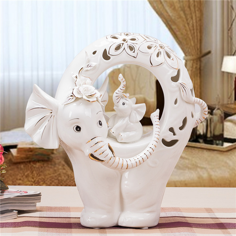 Creative Porcelain Mother And Baby Elephant Sculpture Ceramic Craft Ornament Embellishment For S Day Birthday Gift On Aliexpress Alibaba