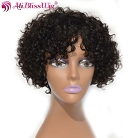AliBlissWig Curly Short Wigs For Black Women 1B Color Brazilian Non Remy Hair None Lace Human