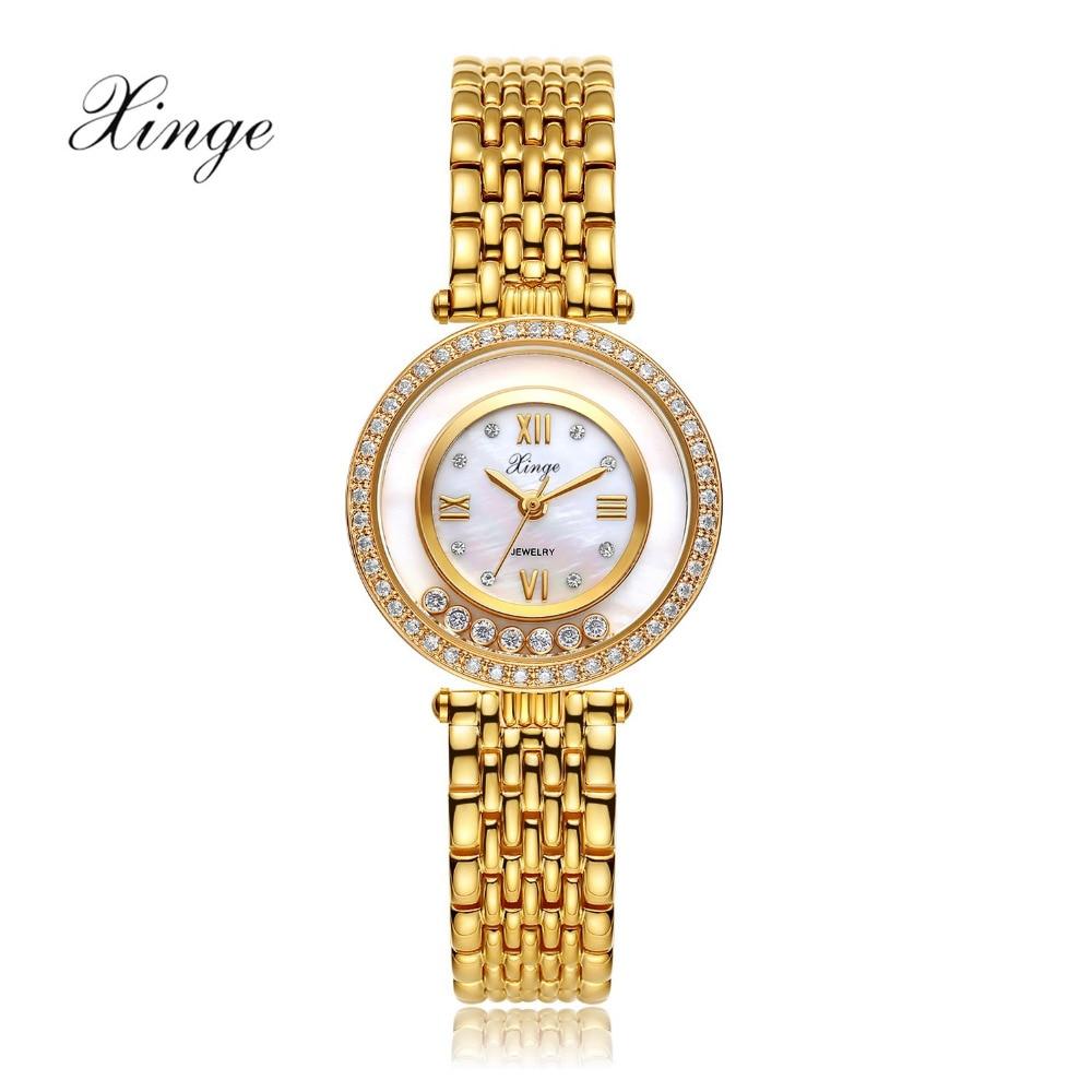Watch Xinge Top Brand Luxury Women 3A Zircon Crystal Bracelet Quartz Watch Women Dress Business Fashion Watch S0358 brand fashion luxury watch women business