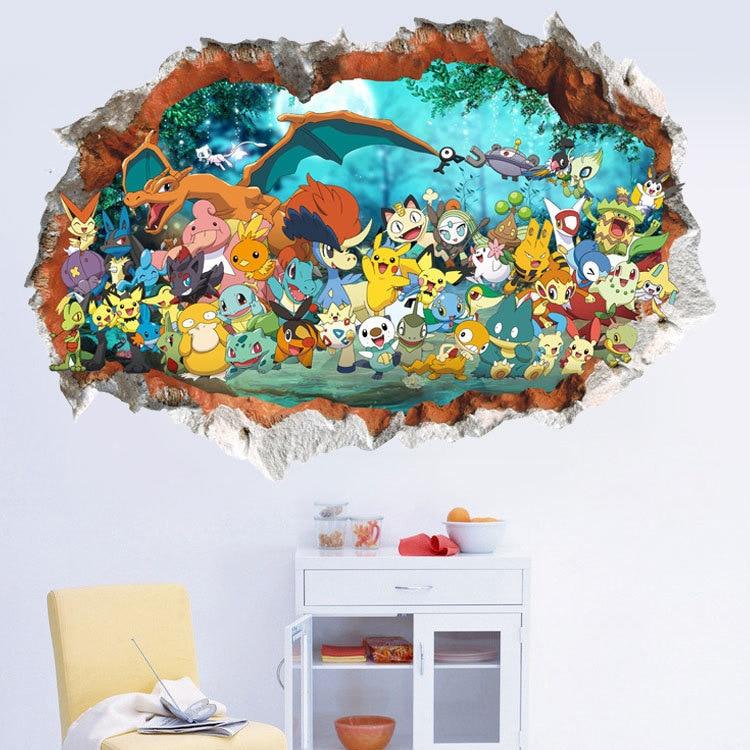 wall-stickers-font-b-pokemon-b-font-kid's-bedroom-decoration-accessories-go-3d-cartoon-murursticker-stereoscopic-picture