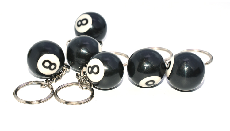 Fashion Creative Billiard Pool Keychain Table Ball Key Ring Lucky Black NO.8 Key Chain 25mm Resin Ball Jewelry Gift