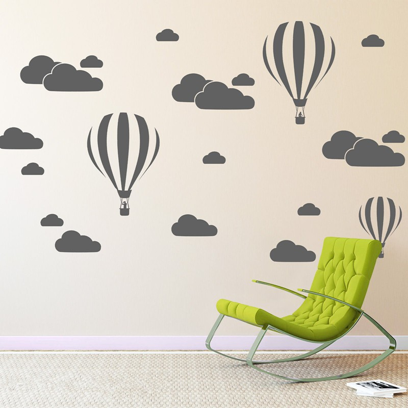 Cloud Helium Balloon Vegg Klistremerker For Kids Rooms Vinyl Hjemmeinnredning Nursery Decoration Soverom DIY Veggmaleri Flyttbar Tegneserie N824