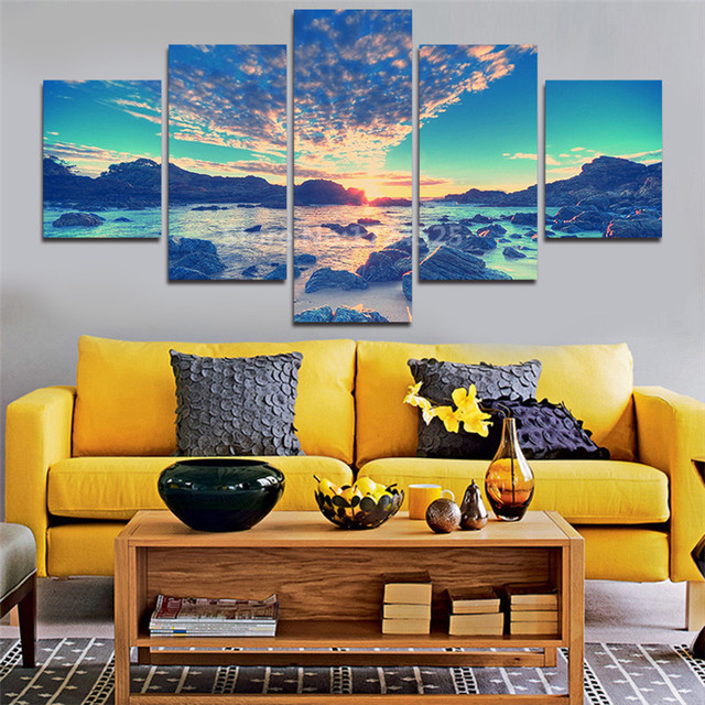 5 Panel Modern Wall Art Home Decoration Canvas Painting Prints Sea ...