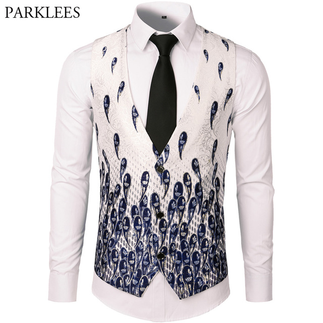 dbec1069ad46a Men Suit Vest Classic V Collar Slim Fit Wedding Waistcoat Mens Luxury  Floral Paisley Print Sleeveless