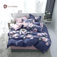 Liv-Esthete Pastoral Flower Bedding Set Duvet Cover Bedspread Flat Sheet Pillowcase Double Queen King Bed Linen For Girl Gift