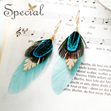 Special western ocean style foreign female earrings feather tassel long the elves of Phantom City