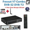 Freesat V7 Combo DVB Receptor de Satélite DVB-S2 DVB-T2 Decodificador Terrestre 1 Año Europa Italia Albanés CCcam 4 Cline & USB WIFI