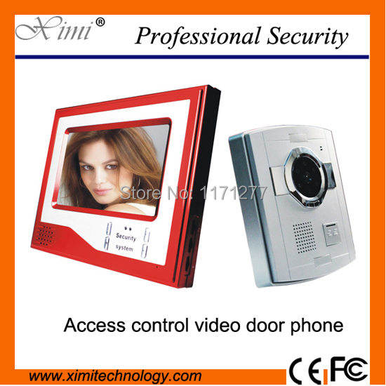 Red color nice design 7 TFT LCD night version video door phone video door bell video intercom for villa, apartment, home use 7 inch video doorbell tft lcd hd screen wired video doorphone for villa one monitor with one metal outdoor unit night vision