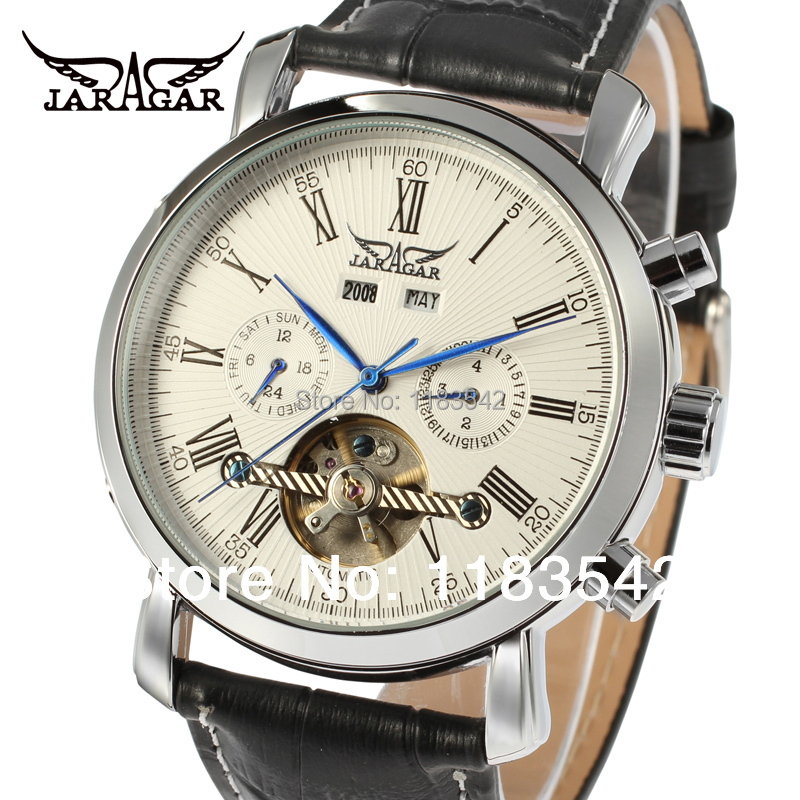 Jargar new Automatic men fashion tourbillon silver color black leather strap watch shipping free JAG540M3S2
